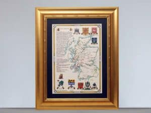 Heraldic Country Map with Hand painted Coat of Arms